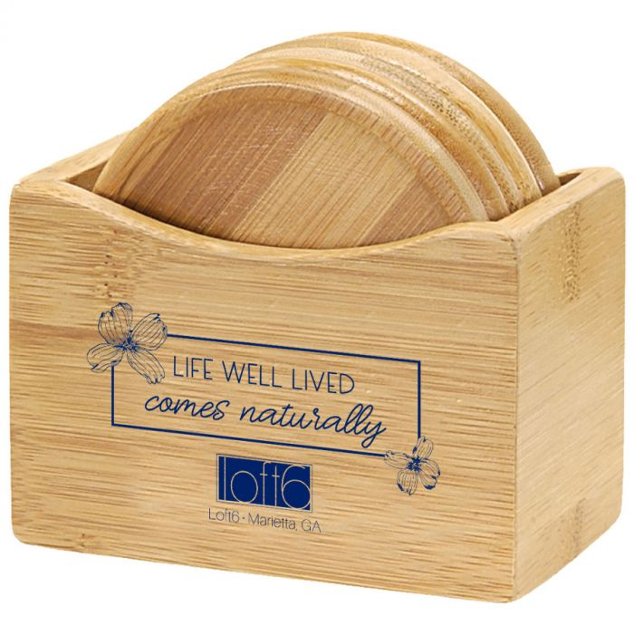 5 Piece Bamboo Coaster Set With Holder