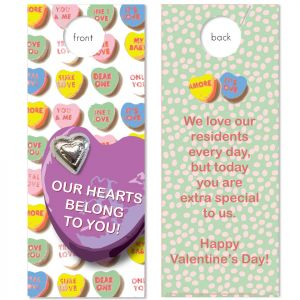 Resident Valentines  with Chocolate Heart attached