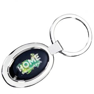 Full Color Domed Key Chain-Oval