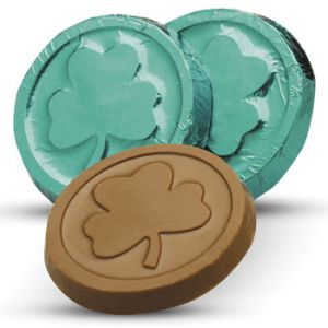 Shamrock Chocolate Coins (Priced per case of 250 coins)